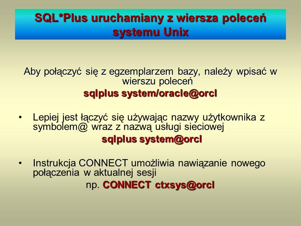 SQL*Plus uruchamiany z wiersza poleceń systemu Unix