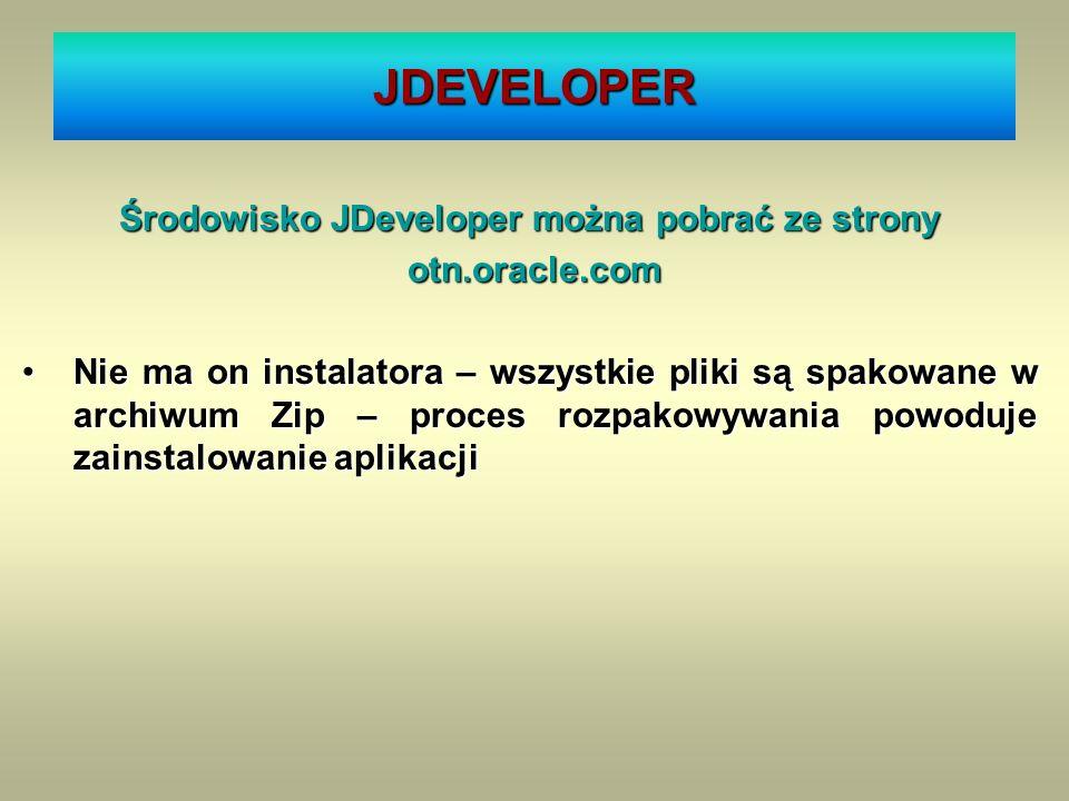 Środowisko JDeveloper można pobrać ze strony