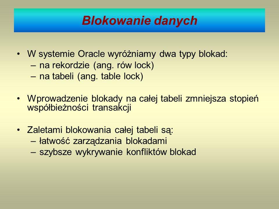 Blokowanie danych W systemie Oracle wyróżniamy dwa typy blokad: