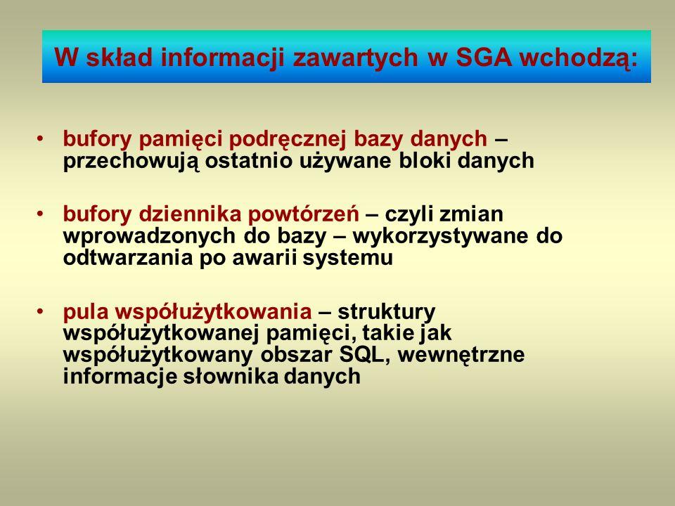 W skład informacji zawartych w SGA wchodzą:
