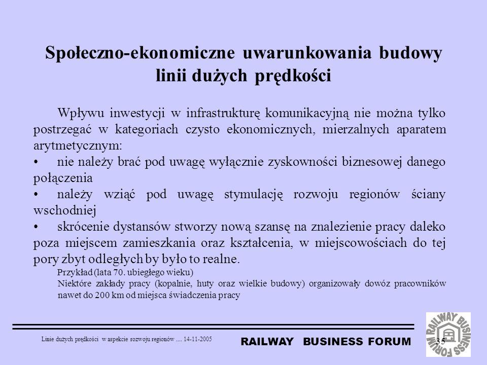Społeczno-ekonomiczne uwarunkowania budowy linii dużych prędkości