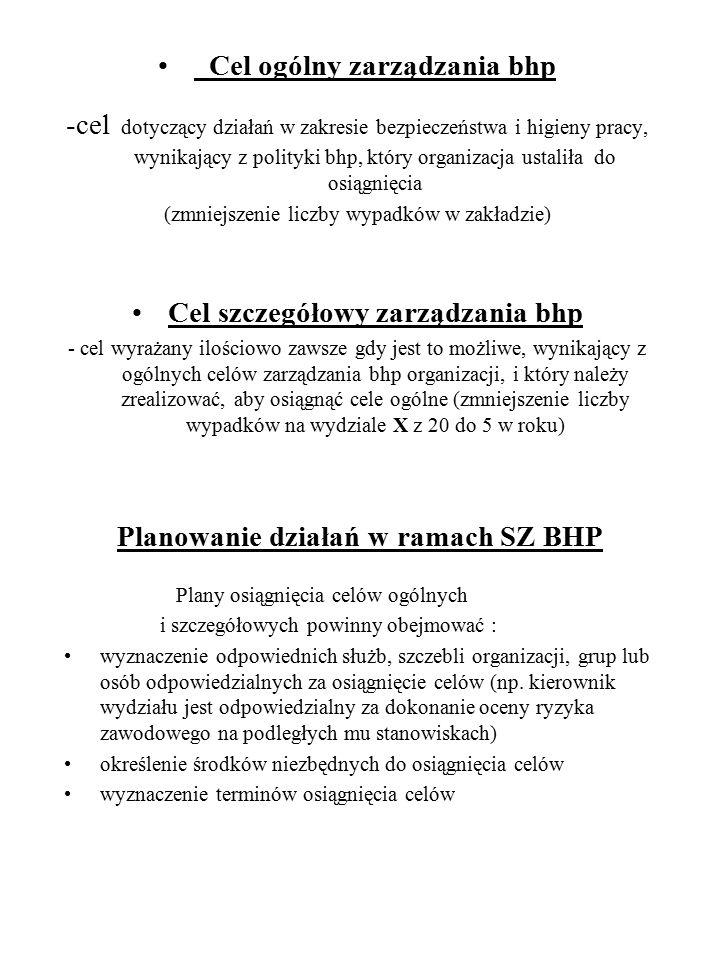 Planowanie działań w ramach SZ BHP