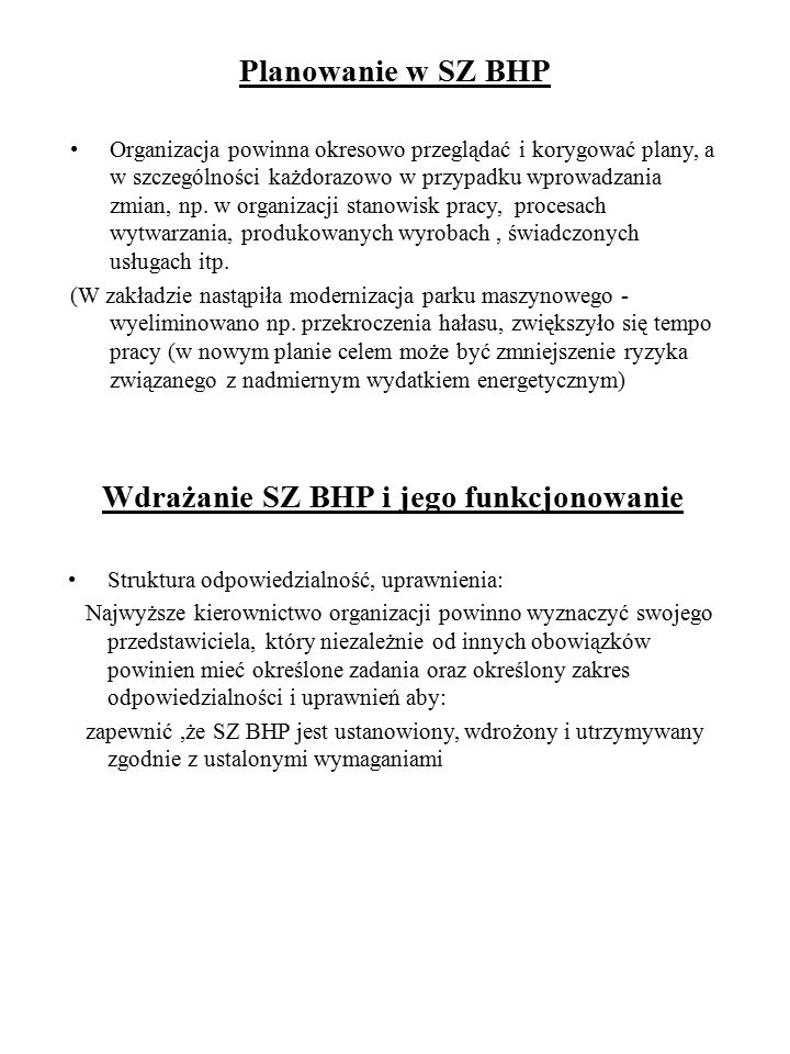Wdrażanie SZ BHP i jego funkcjonowanie