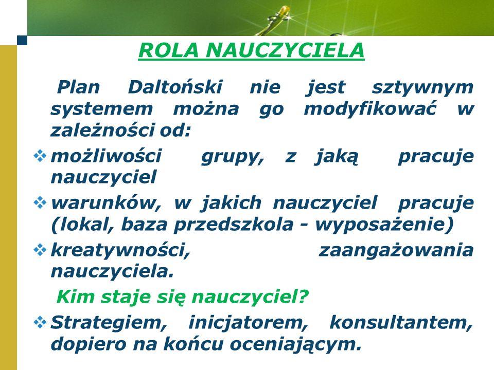 ROLA NAUCZYCIELA Plan Daltoński nie jest sztywnym systemem można go modyfikować w zależności od: możliwości grupy, z jaką pracuje nauczyciel.