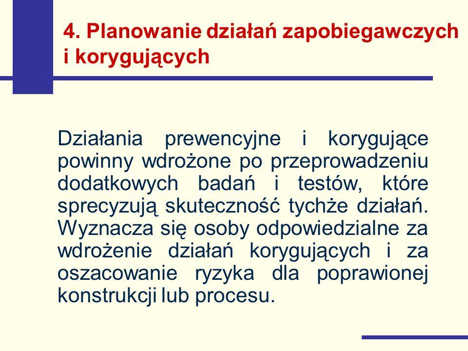 4. Planowanie działań zapobiegawczych i korygujących