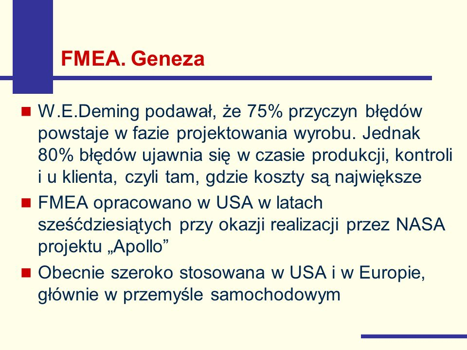 FMEA. Geneza
