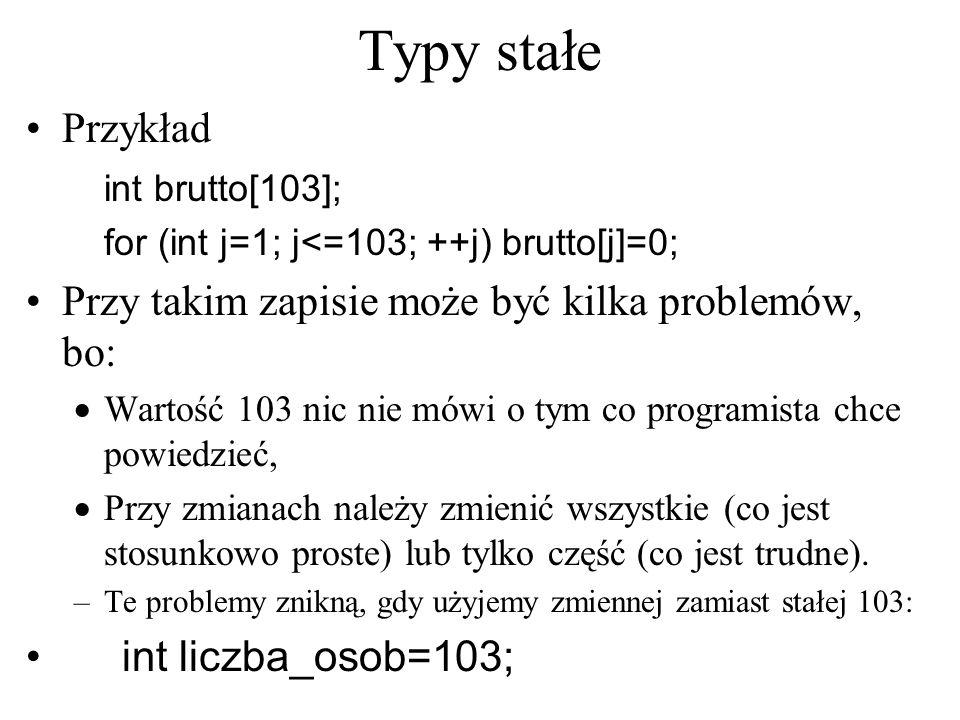 Typy stałe Przykład Przy takim zapisie może być kilka problemów, bo: