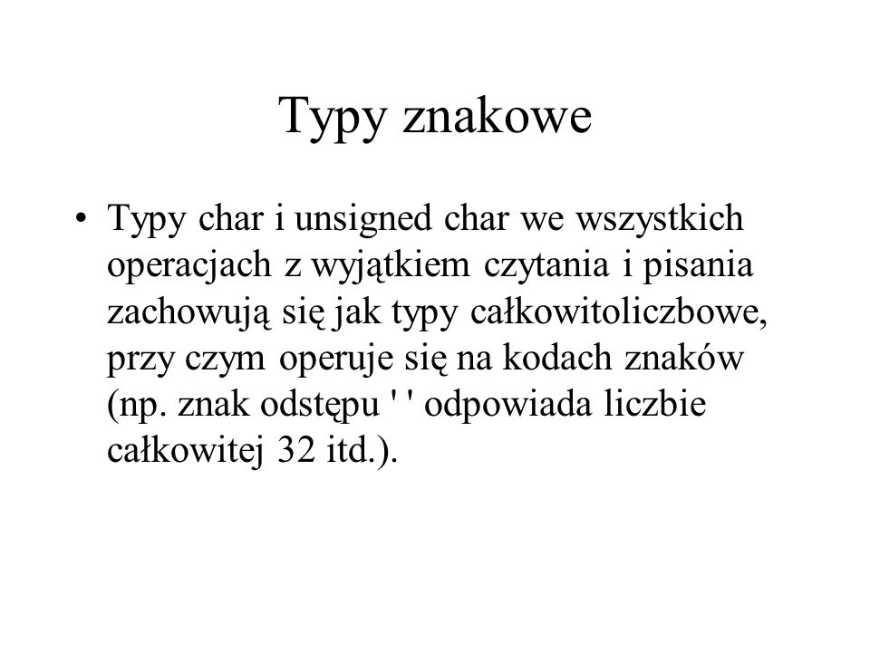 Typy znakowe