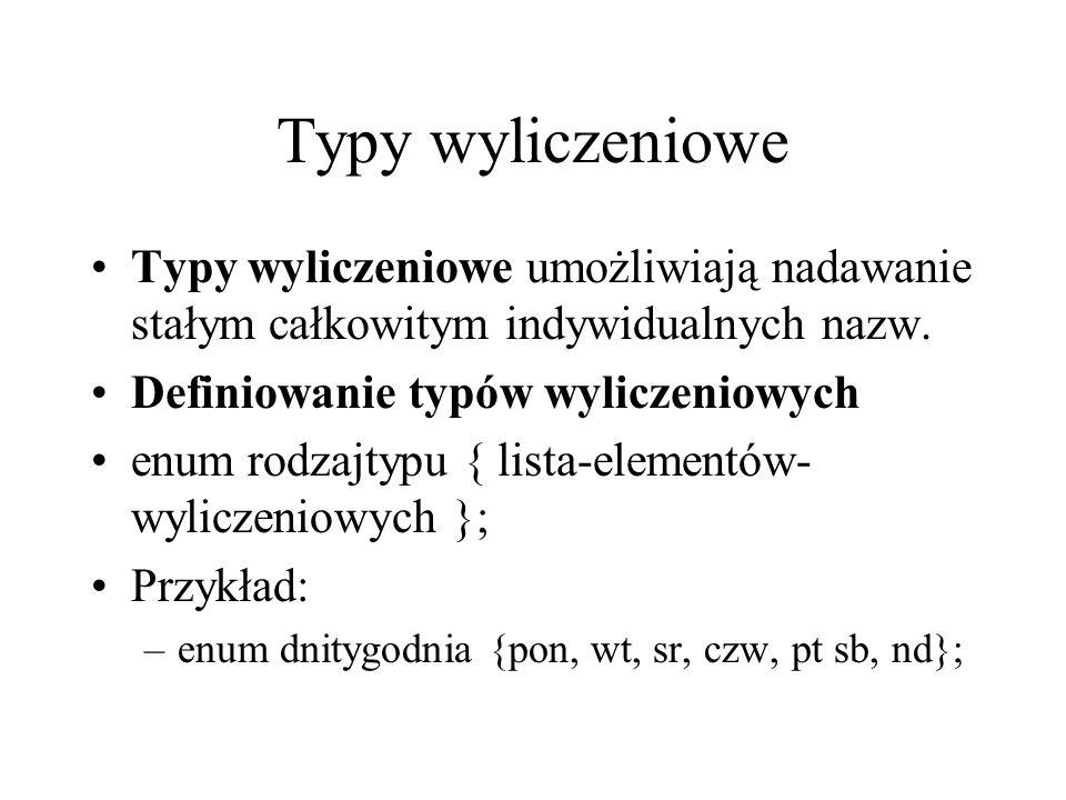 Typy wyliczeniowe Typy wyliczeniowe umożliwiają nadawanie stałym całkowitym indywidualnych nazw. Definiowanie typów wyliczeniowych.