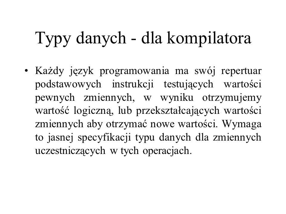 Typy danych - dla kompilatora
