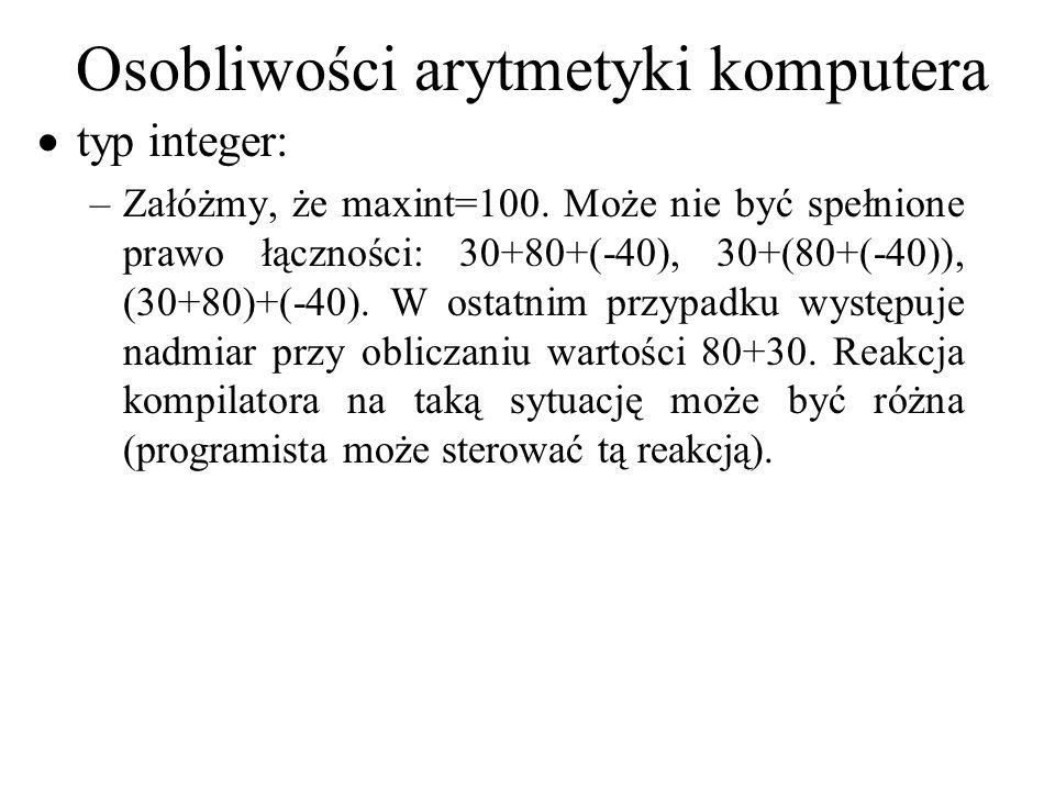 Osobliwości arytmetyki komputera