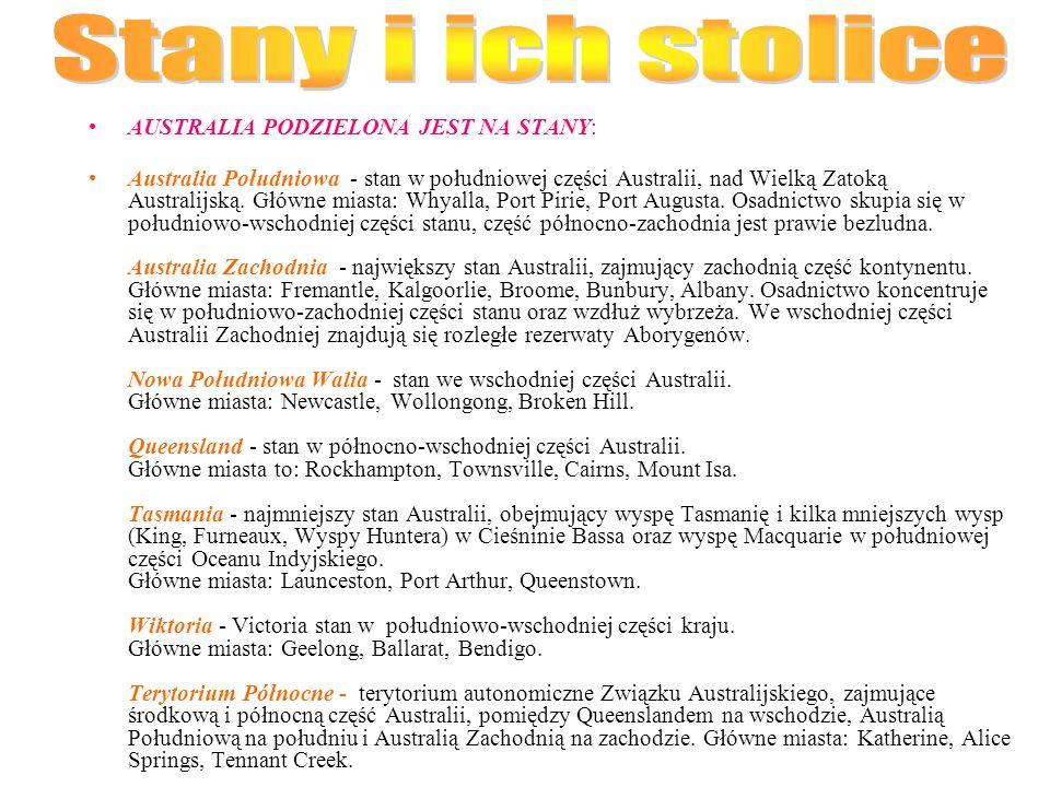 Stany i ich stolice AUSTRALIA PODZIELONA JEST NA STANY: