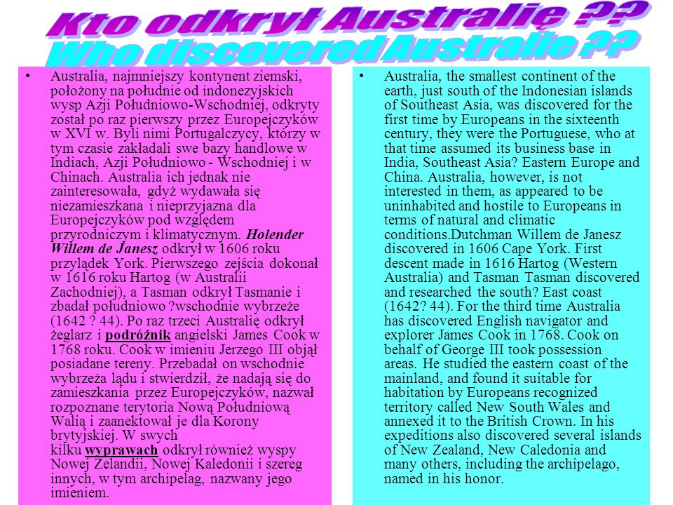 Who discovered Australie