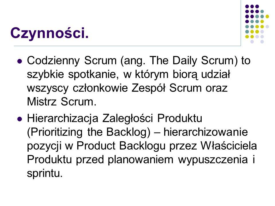 Czynności. Codzienny Scrum (ang. The Daily Scrum) to szybkie spotkanie, w którym biorą udział wszyscy członkowie Zespół Scrum oraz Mistrz Scrum.