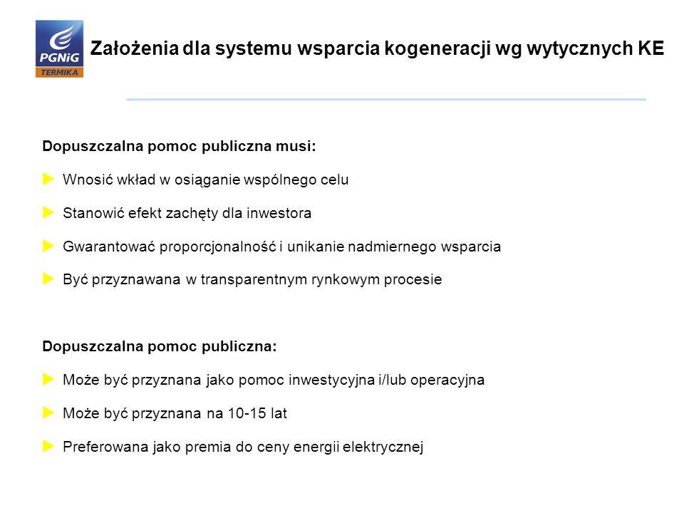 Założenia dla systemu wsparcia kogeneracji wg wytycznych KE