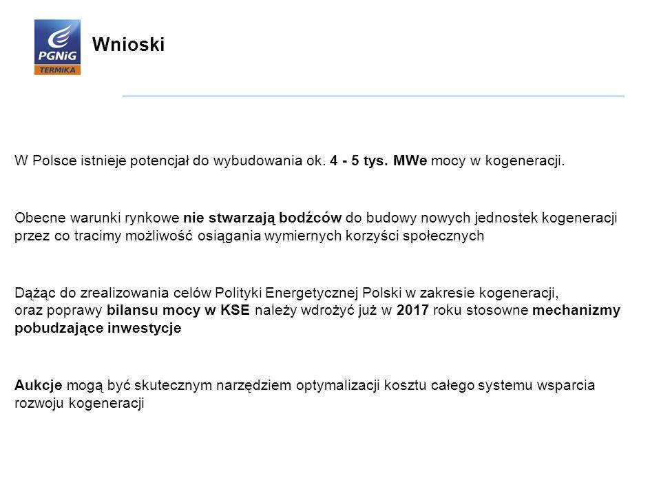 Wnioski W Polsce istnieje potencjał do wybudowania ok. 4 - 5 tys. MWe mocy w kogeneracji.