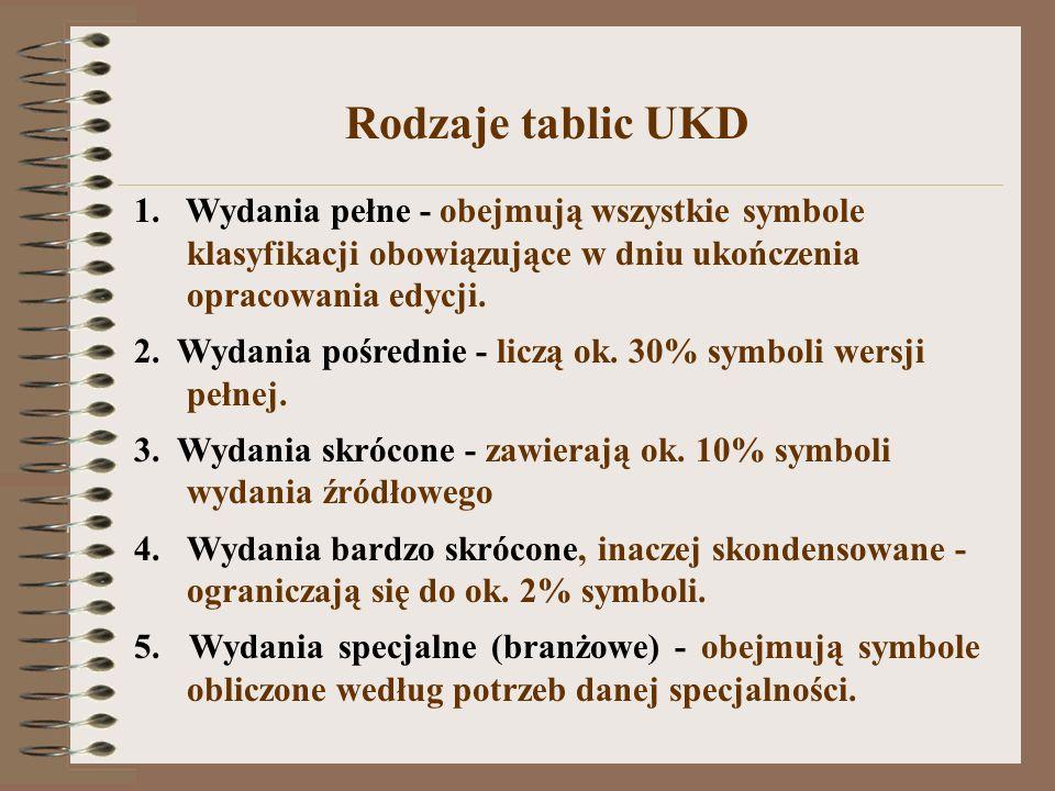 Rodzaje tablic UKD 1. Wydania pełne - obejmują wszystkie symbole klasyfikacji obowiązujące w dniu ukończenia opracowania edycji.