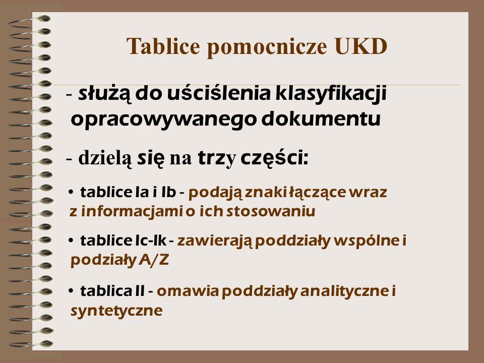Tablice pomocnicze UKD