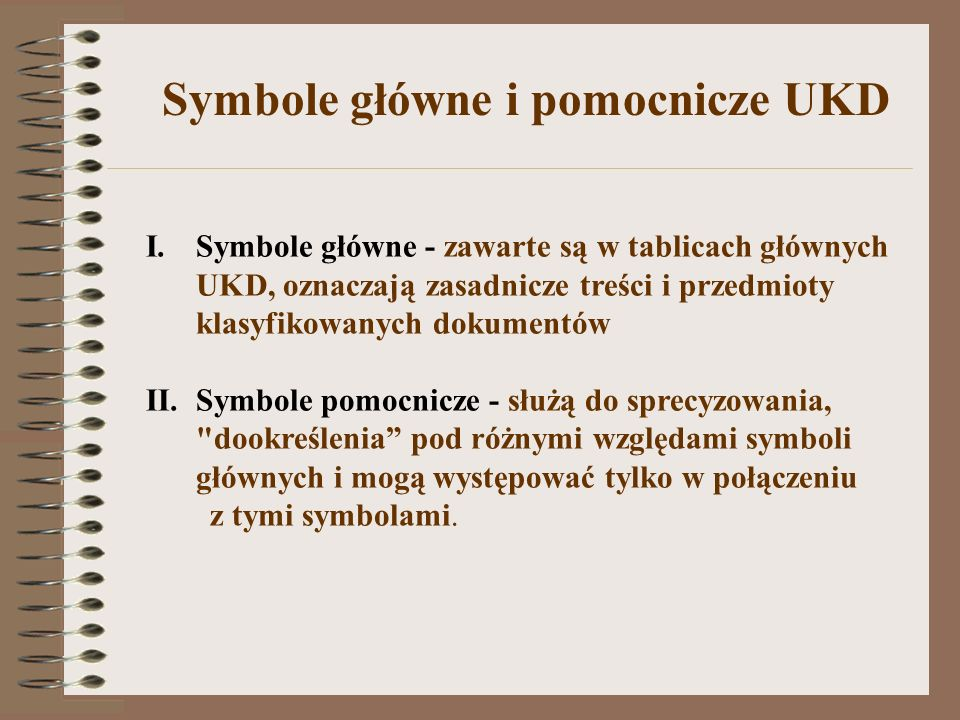 Symbole główne i pomocnicze UKD