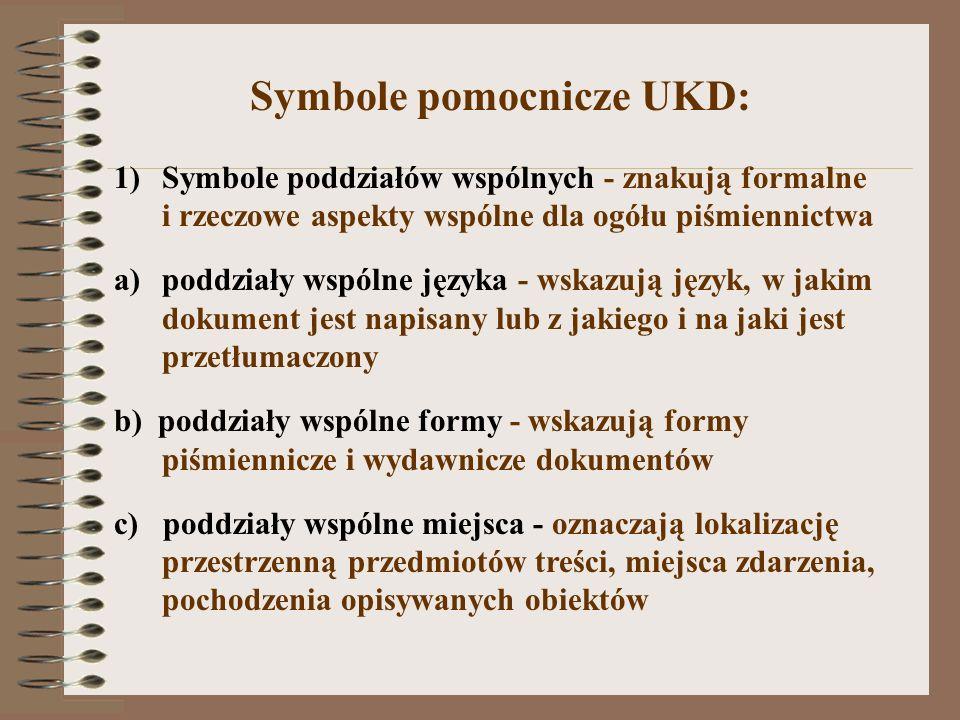 Symbole pomocnicze UKD:
