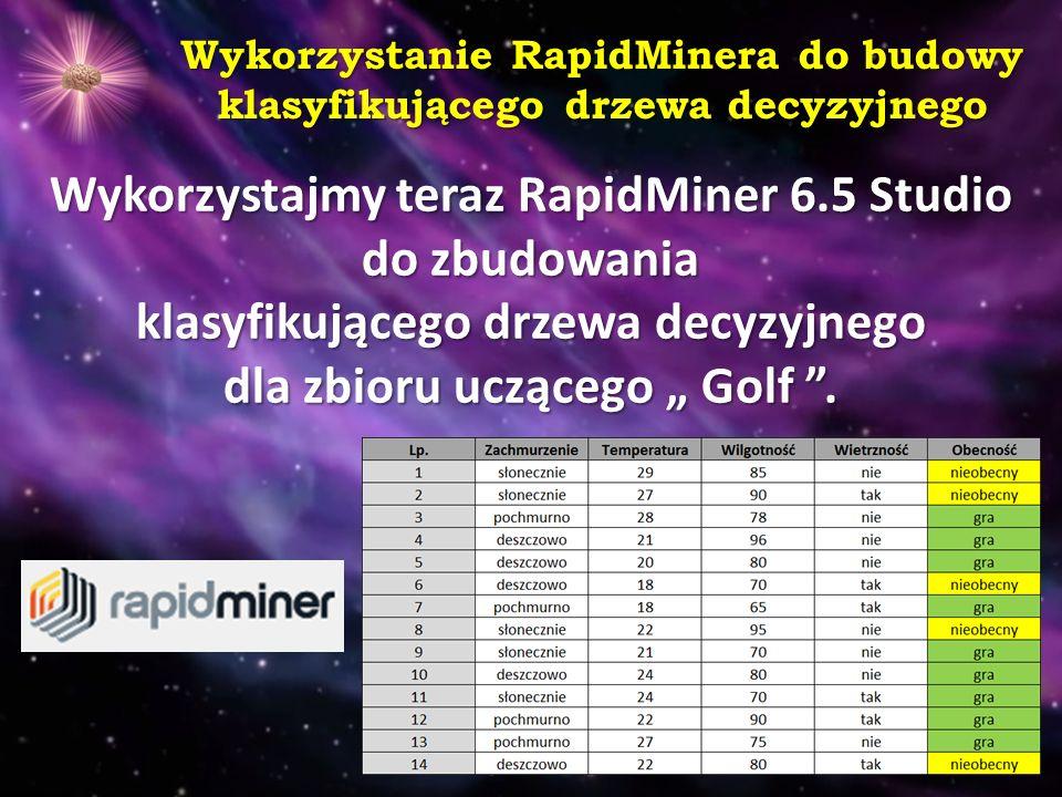 Wykorzystanie RapidMinera do budowy klasyfikującego drzewa decyzyjnego