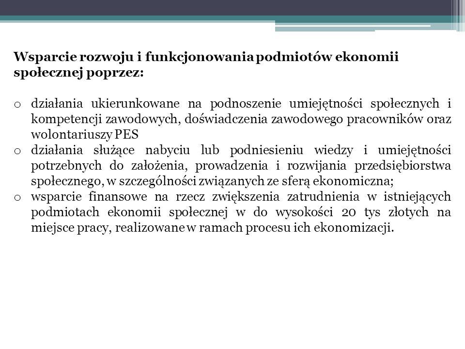Wsparcie rozwoju i funkcjonowania podmiotów ekonomii społecznej poprzez: