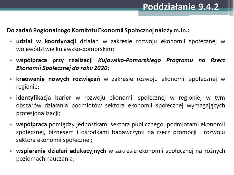 Poddziałanie 9.4.2 Do zadań Regionalnego Komitetu Ekonomii Społecznej należy m.in.: