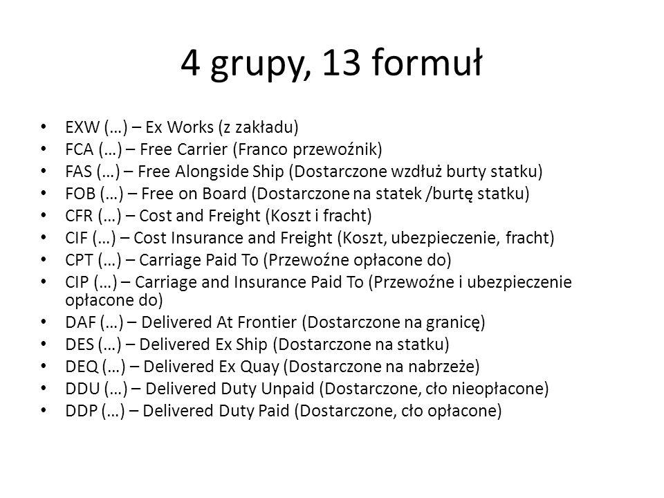 4 grupy, 13 formuł EXW (…) – Ex Works (z zakładu)