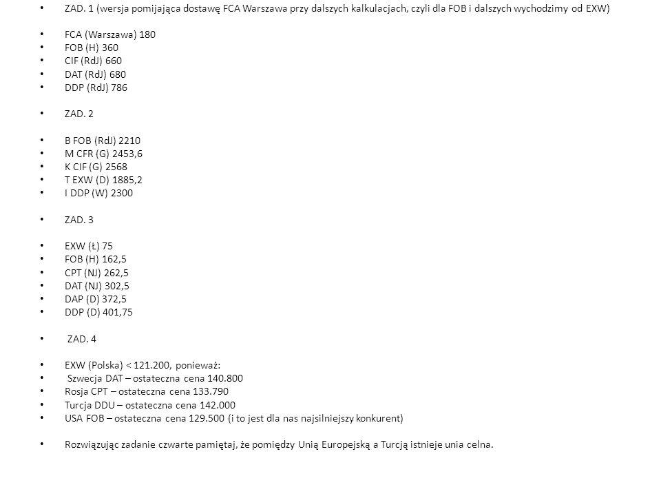 ZAD. 1 (wersja pomijająca dostawę FCA Warszawa przy dalszych kalkulacjach, czyli dla FOB i dalszych wychodzimy od EXW)