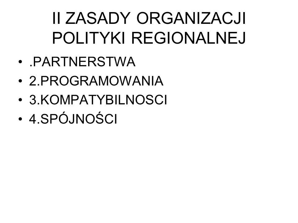 II ZASADY ORGANIZACJI POLITYKI REGIONALNEJ