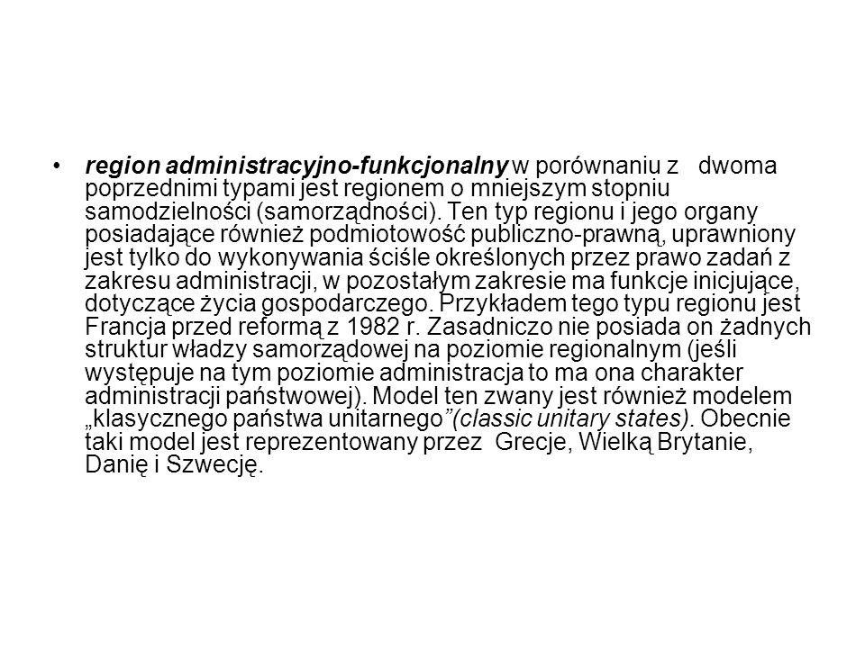 region administracyjno-funkcjonalny w porównaniu z dwoma poprzednimi typami jest regionem o mniejszym stopniu samodzielności (samorządności).
