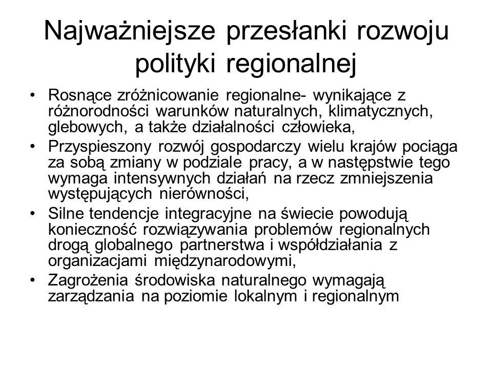 Najważniejsze przesłanki rozwoju polityki regionalnej