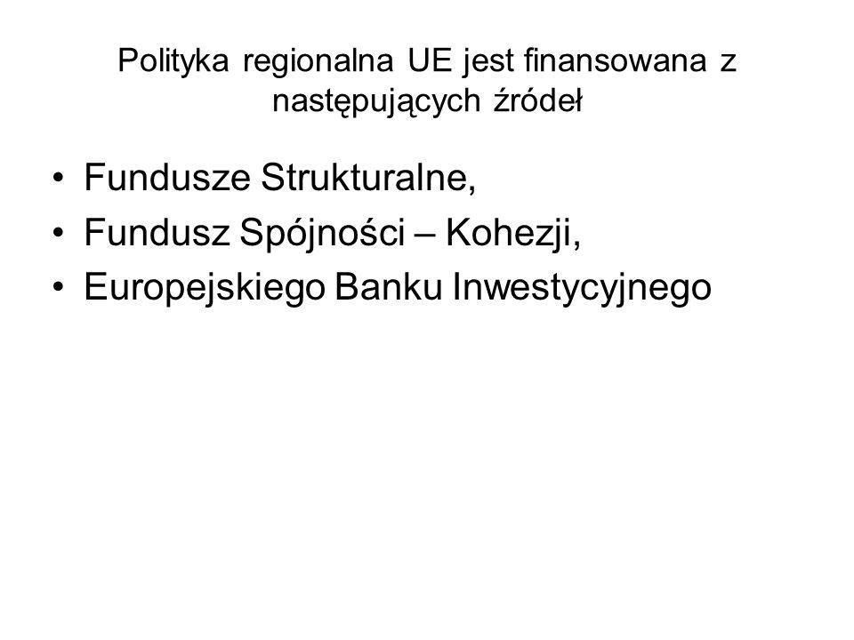 Polityka regionalna UE jest finansowana z następujących źródeł