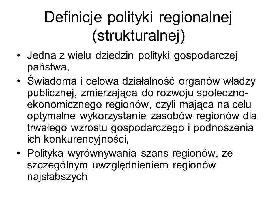 Definicje polityki regionalnej (strukturalnej)