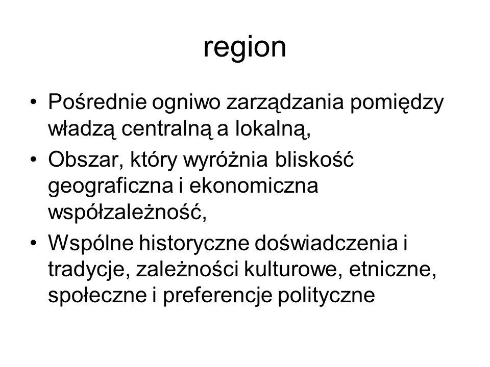 regionPośrednie ogniwo zarządzania pomiędzy władzą centralną a lokalną, Obszar, który wyróżnia bliskość geograficzna i ekonomiczna współzależność,