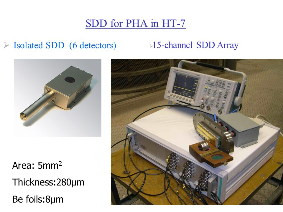 SDD for PHA in HT-7 Isolated SDD (6 detectors) 15-channel SDD Array