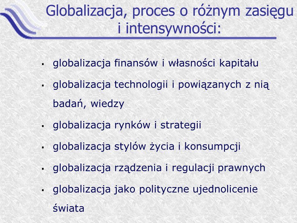 Globalizacja, proces o różnym zasięgu i intensywności: