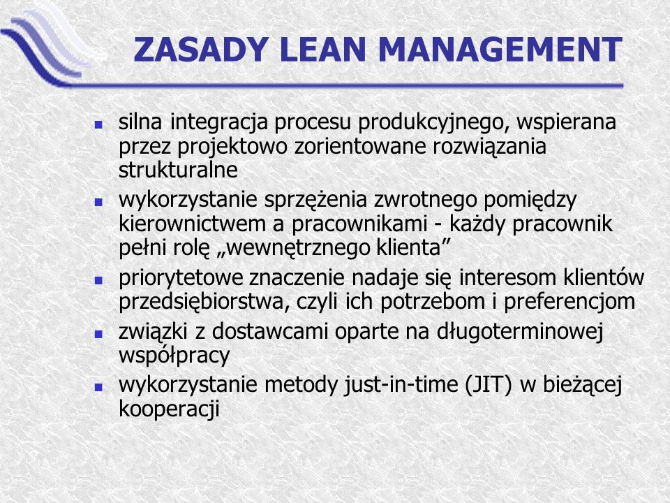 ZASADY LEAN MANAGEMENT