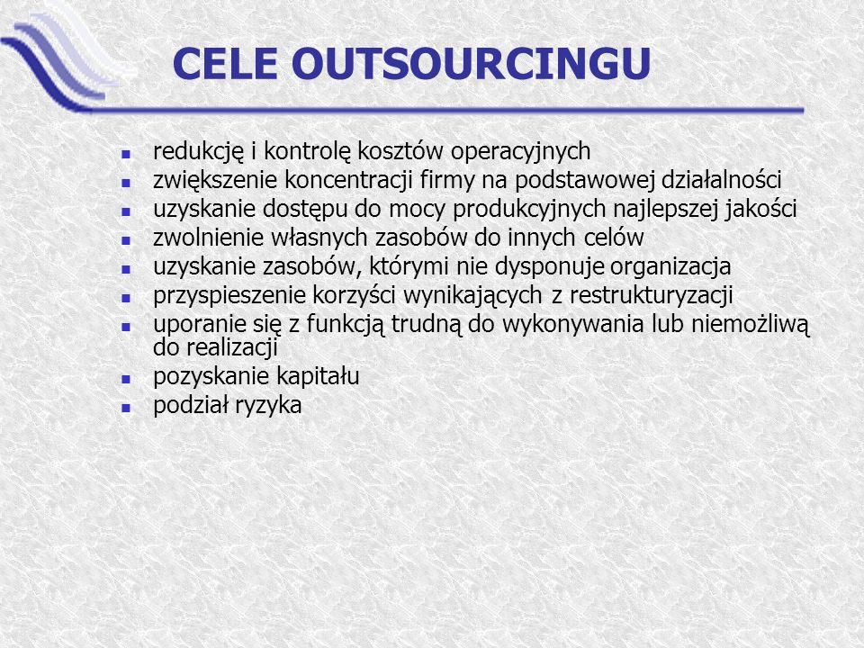 CELE OUTSOURCINGU redukcję i kontrolę kosztów operacyjnych