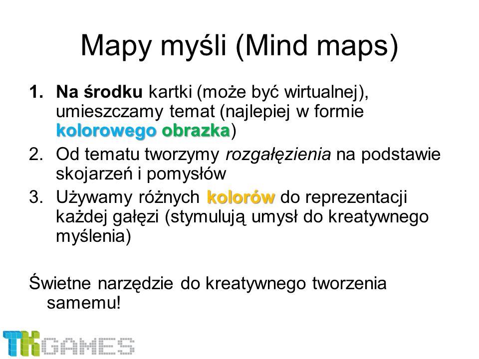 Mapy myśli (Mind maps) Na środku kartki (może być wirtualnej), umieszczamy temat (najlepiej w formie kolorowego obrazka)