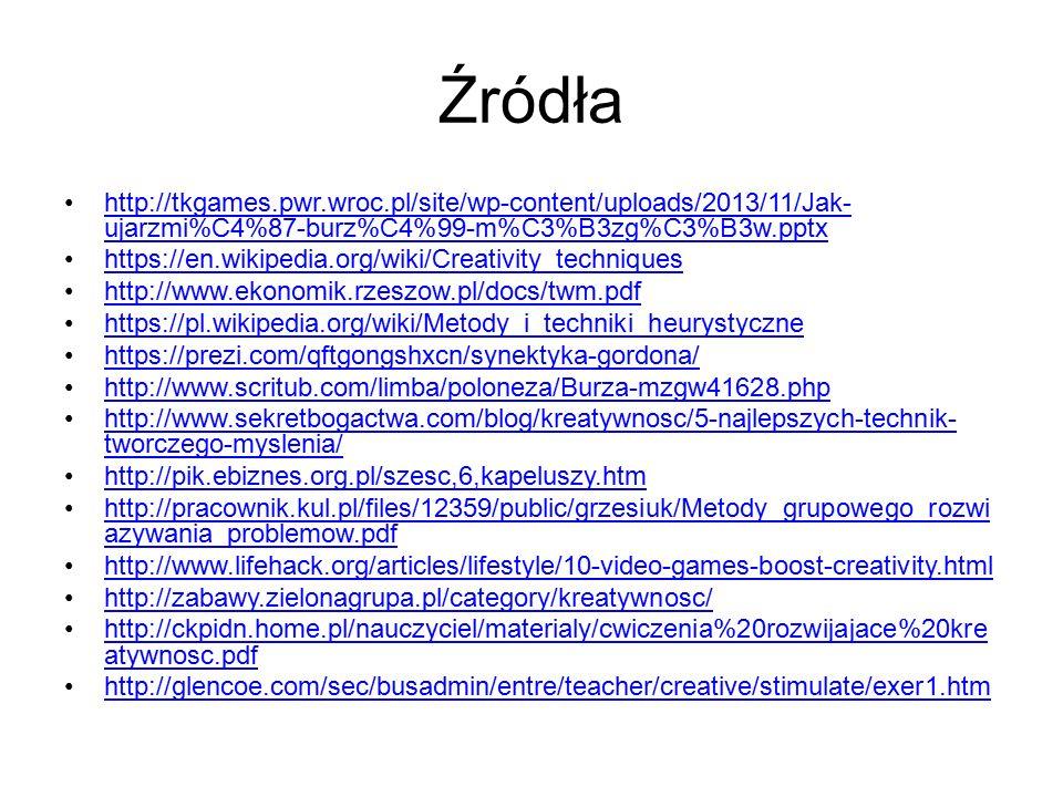 Źródła http://tkgames.pwr.wroc.pl/site/wp-content/uploads/2013/11/Jak-ujarzmi%C4%87-burz%C4%99-m%C3%B3zg%C3%B3w.pptx.