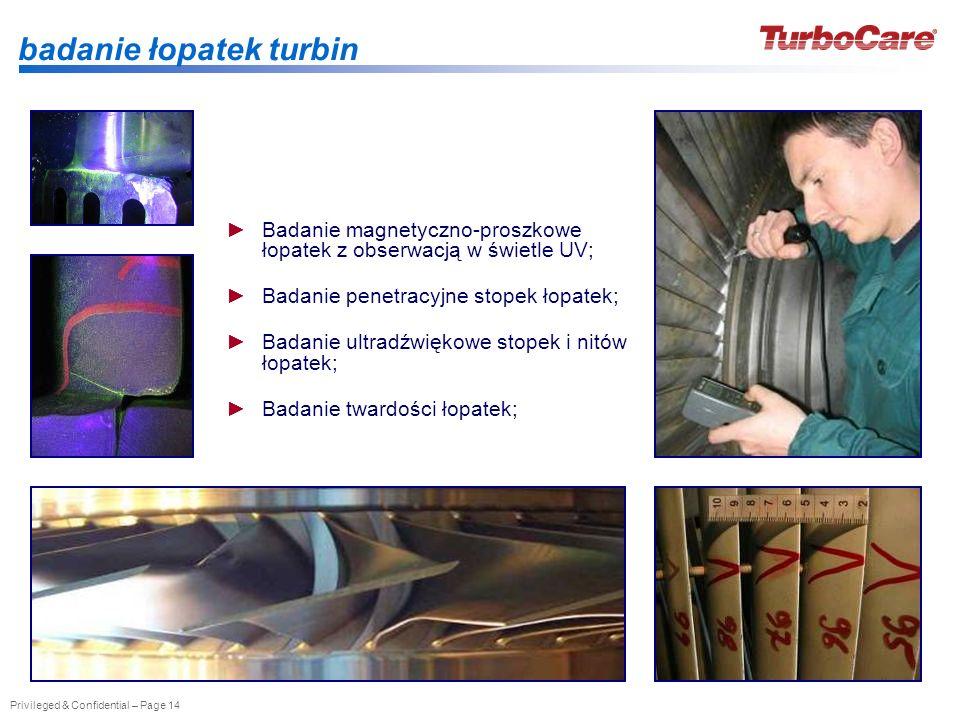 badanie łopatek turbin