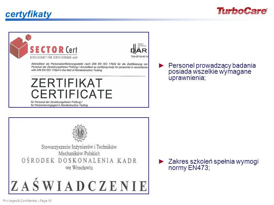 certyfikatyPersonel prowadzący badania posiada wszelkie wymagane uprawnienia; Zakres szkoleń spełnia wymogi normy EN473;