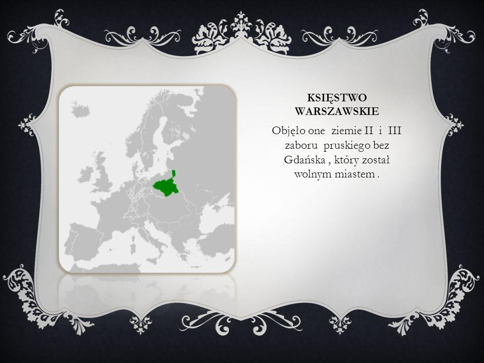 Księstwo warszawskie Objęło one ziemie II i III zaboru pruskiego bez Gdańska , który został wolnym miastem .