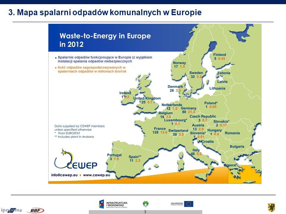 3. Mapa spalarni odpadów komunalnych w Europie