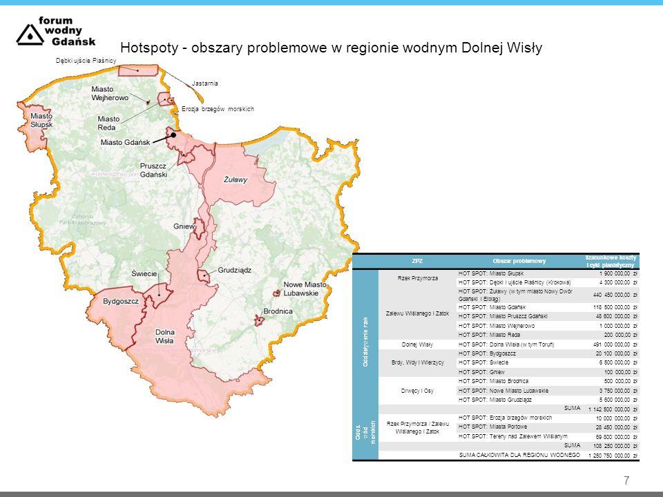 Hotspoty - obszary problemowe w regionie wodnym Dolnej Wisły