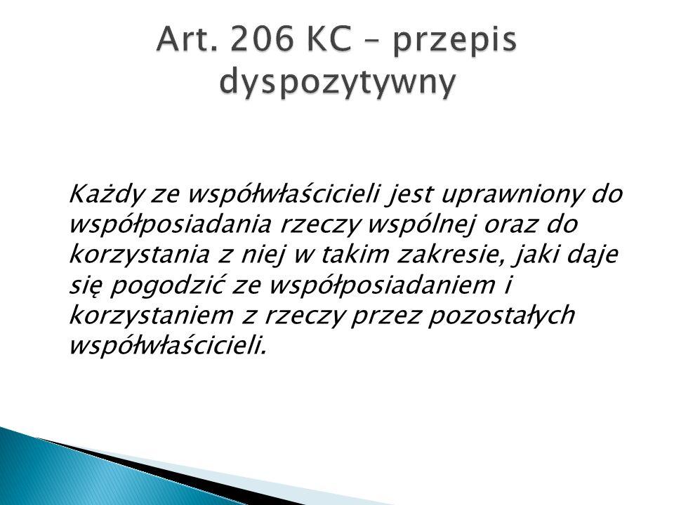 Art. 206 KC – przepis dyspozytywny