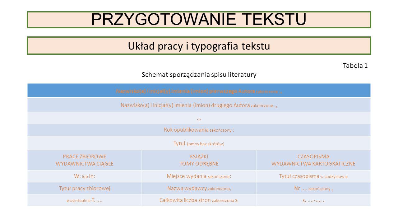 PRZYGOTOWANIE TEKSTU Układ pracy i typografia tekstu Tabela 1