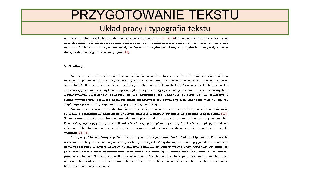 Układ pracy i typografia tekstu