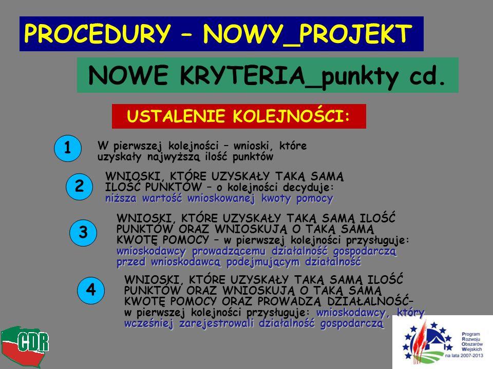 NOWE KRYTERIA_punkty cd. USTALENIE KOLEJNOŚCI: